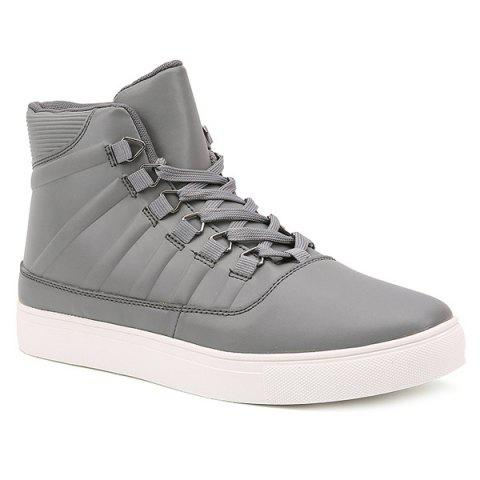PU Leather Striped Tie Up Boots - GRAY 40