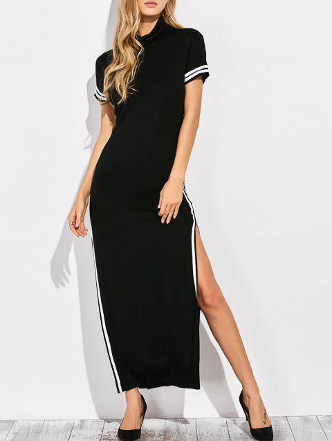 aef17ee1938 41% OFF  2019 High Neck Cut Out Side Slit Maxi Dress In BLACK S ...