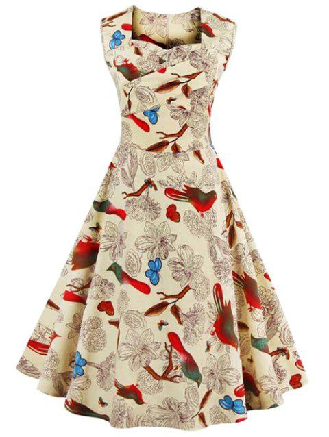 Sleeveless Flower Print Vintage Swing Dress - LIGHT YELLOW L
