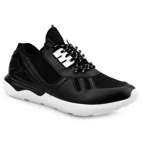 Tie Up Stretch Fabric Athletic Shoes - BLACK 40