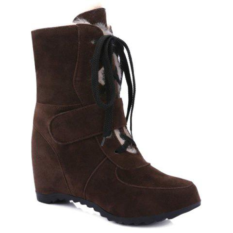 Suede Tie Up Hidden Wedge Short Boots - DEEP BROWN 37