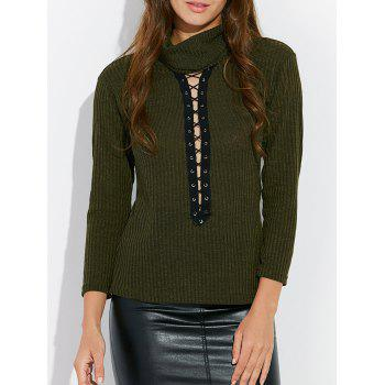 Lace Up Mock Neck Tee