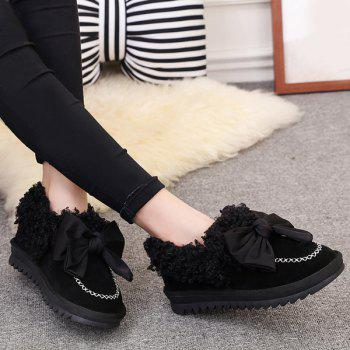 Stitching Bowknot Faux Lamb Wool Snow Boots - BLACK 40