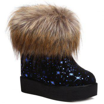 Faux Fur Star Printed Snow Boots