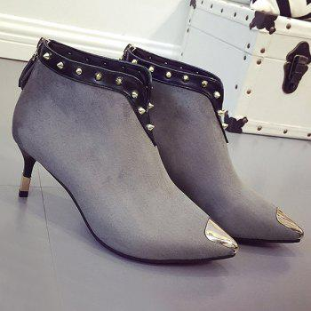 Zipper Metal Toe Rivets Ankle Boots