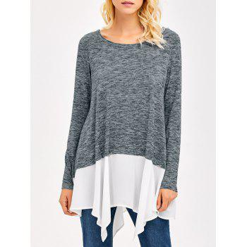 Heather Chiffon Trim Asymmetrical Tee