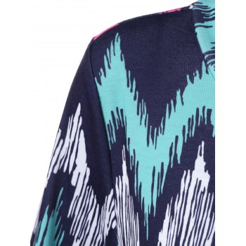 Plus Size Zigzag Asymmetrical T-Shirt - PURPLISH BLUE 4XL