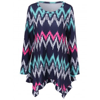 Plus Size Zigzag Asymmetrical T-Shirt