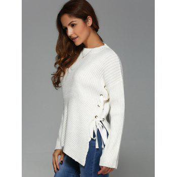 Lace-Up Drop Shoulder Sweater