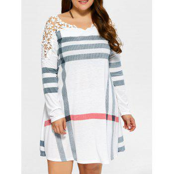 Plus Size Casual Lacework Splicing Stripes Swing Dress