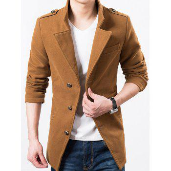 Epaulet Design Single Breasted Wool Mix Jacket