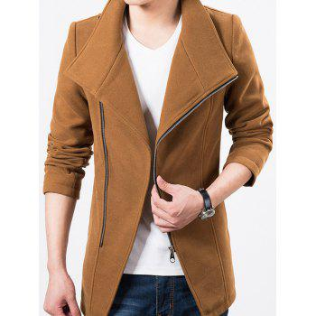 Stand Collar Side Zipper Up Wool Blend Jacket