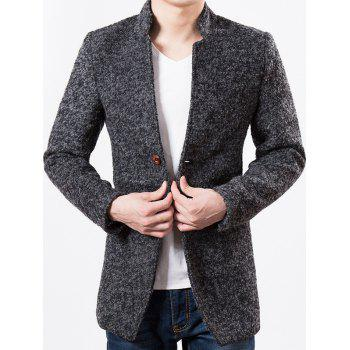 Slim Fit Mandarin Collar Heather Wool Blend Coat