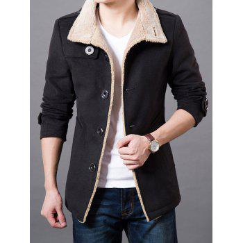 Epaulet Design Turndown Collar Wool Blend Coat