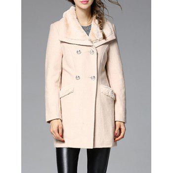 Faux Fur Insert Wool Blend Coat
