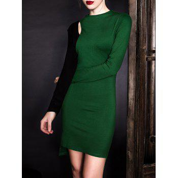 Long Sleeve Cutout Color Block Sheath Dress