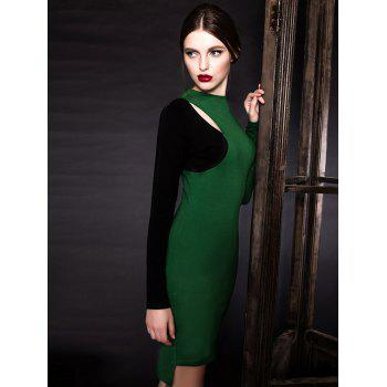 Long Sleeve Cutout Color Block Sheath Dress - GREEN L