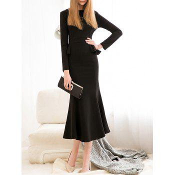 Long Sleeve Peplum Mermaid Dress - BLACK M