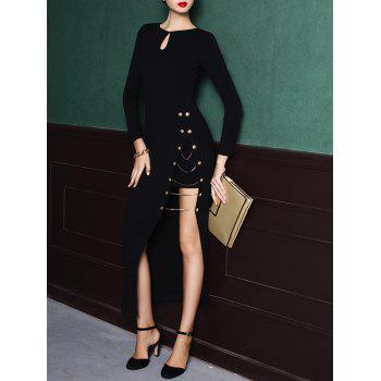 Keyhole Long Sleeve High Slit Maxi Dress