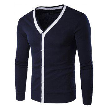V Neck Button Up Contrast Trim Cardigan - CADETBLUE CADETBLUE