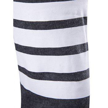 Flat Knitted Striped Sleeve Open Front Cardigan - M M