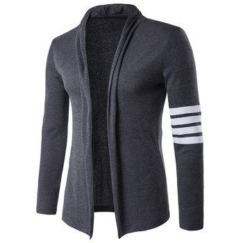Flat Knitted Striped Sleeve Open Front Cardigan - GRAY GRAY