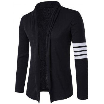 Flat Knitted Striped Sleeve Open Front Cardigan - BLACK M