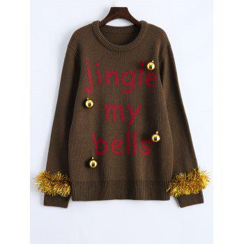 Crew Neck Christmas Decorations Embellished Sweater - BROWN BROWN