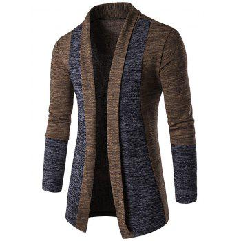 Open Front Space Dye Contrast Panel Cardigan - COFFEE COFFEE