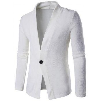 Texture Knitted One Button Cardigan - WHITE WHITE