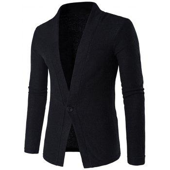 Texture Knitted One Button Cardigan - BLACK BLACK