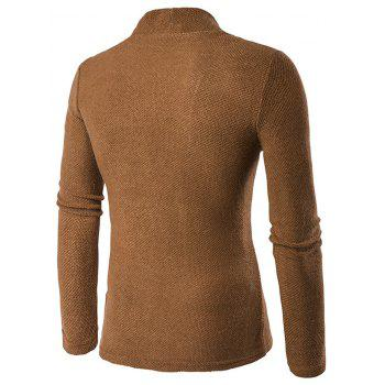 Texture Knitted One Button Cardigan - COFFEE COFFEE
