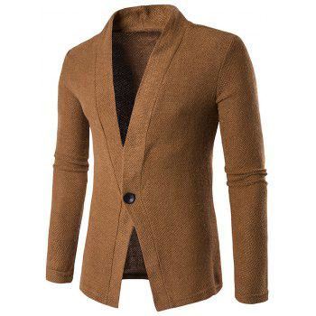 Texture Knitted One Button Cardigan - COFFEE M