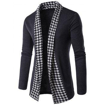 Houndstooth Open Front Knitted Cardigan