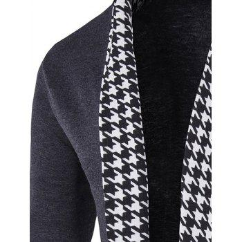 Houndstooth Open Front Knitted Cardigan - GRAY GRAY