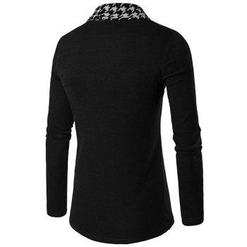 Houndstooth Open Front Knitted Cardigan - BLACK L