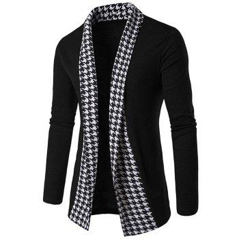 Houndstooth Open Front Knitted Cardigan - BLACK M