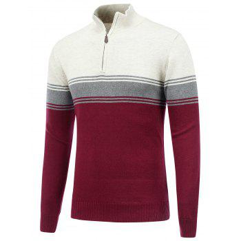 Buy Striped Stand Collar Half Zip Sweater BURGUNDY