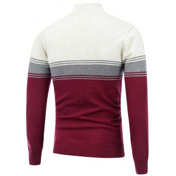 Striped Stand Collar Half Zip Sweater - BURGUNDY BURGUNDY