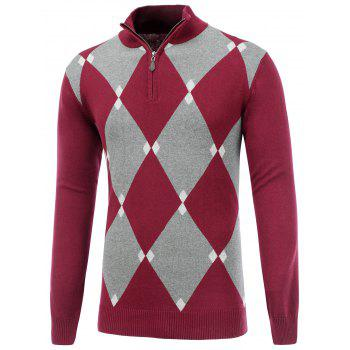 Half Zip Up Harlequin Pattern Sweater