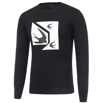 Crew Neck Swallow Print Pullover Sweater