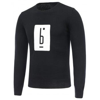 Crew Neck Long Sleeve Graphic Sweater - BLACK M