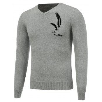 V Neck Long Sleeve Feather Graphic Sweater - GRAY GRAY