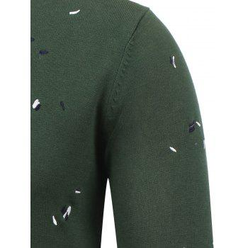 V Neck Embroidered Pullover Sweater - DEEP GREEN DEEP GREEN