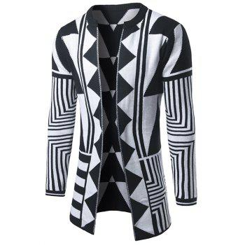 Open Front Geometric Pattern Cardigan - WHITE M