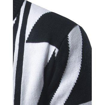 Open Front Geometric Pattern Cardigan - WHITE WHITE