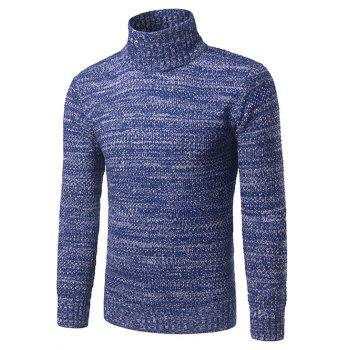 Heathered Turtleneck Pullover Sweater - BLUE M
