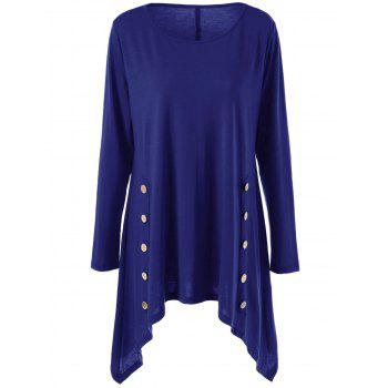 Long Sleeve Plus Size Double-Breasted Asymmetrical T-Shirt - BLUE XL