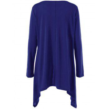 Long Sleeve Plus Size Double-Breasted Asymmetrical T-Shirt - XL XL