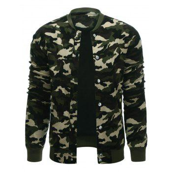 Snap Button Up Rib Cuff Camo Jacket - CAMOUFLAGE COLOR CAMOUFLAGE COLOR